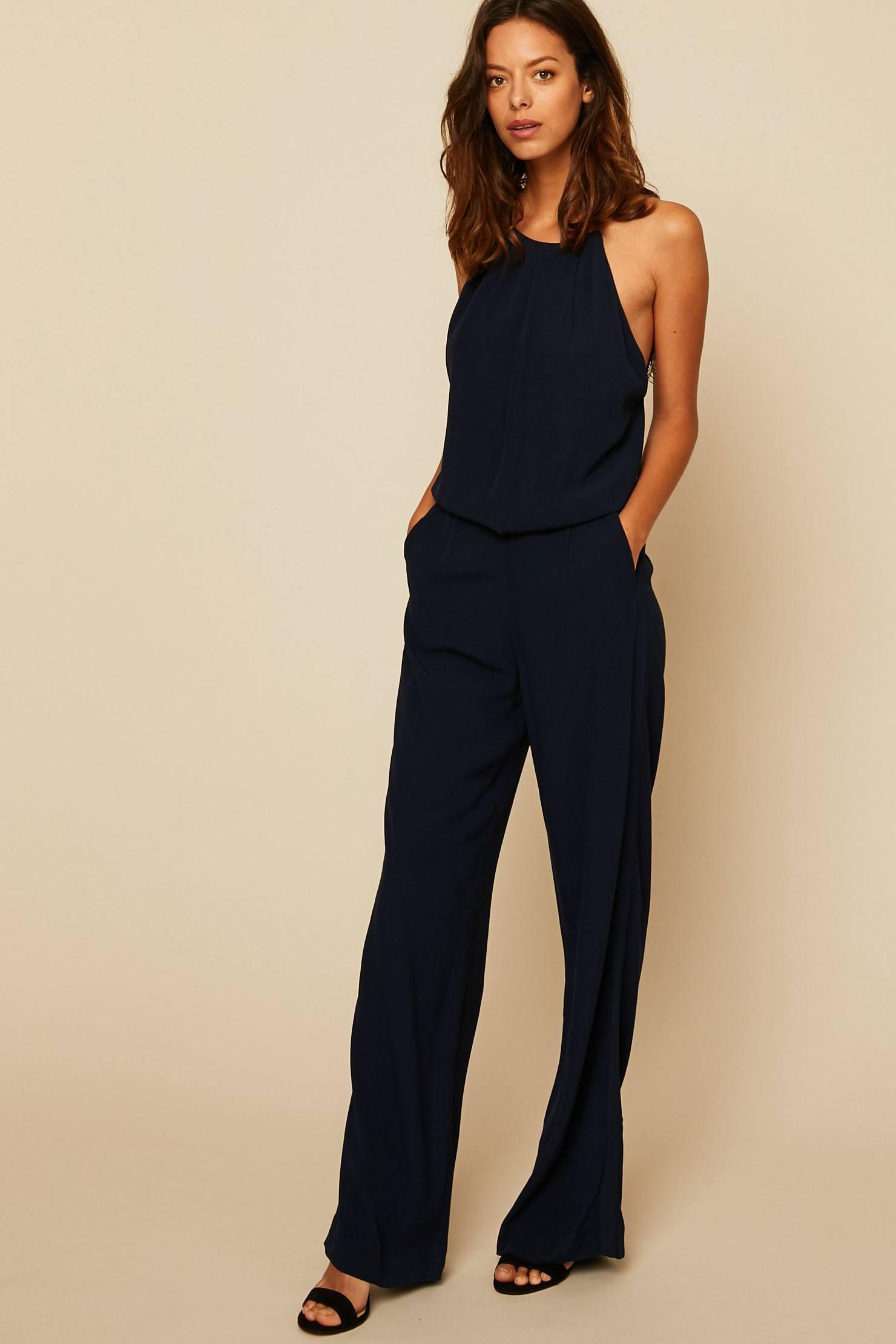 Samsøe Samsøe Combi-pantalon fluide avec dentelle au dos bleu nuit