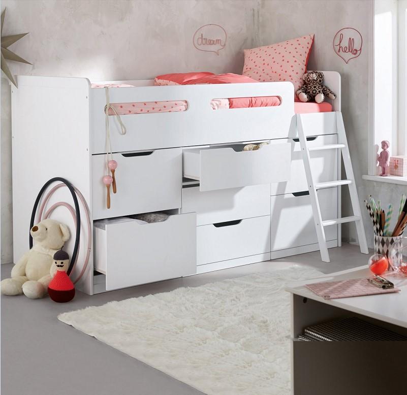 Combiné lit enfant avec rangements LIGNE PASSE-PASSE XXL blanc