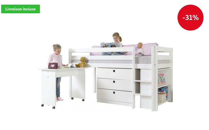 Lit mi-hauteur combiné 90x200 cm COMFORIUM avec 3 tiroirs + étagère et un bureau coloris blanc - Auchan