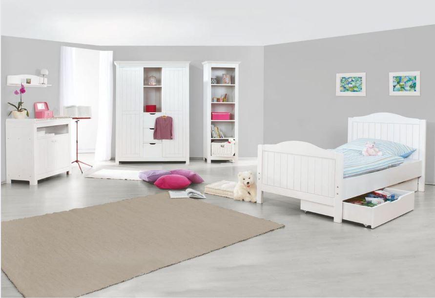 Set de 3 pièces COMFORIUM pour chambre enfant avec lit 200x90 cm + commode et grande armoire coloris blanc