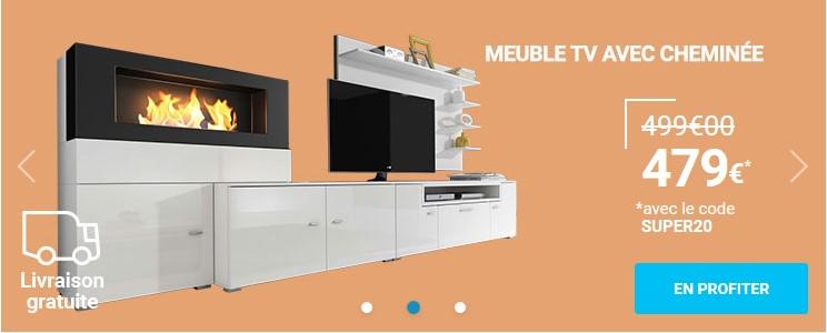 Comfort Home Innovation Olympo Ensemble De Salon Avec Cheminee Blanc