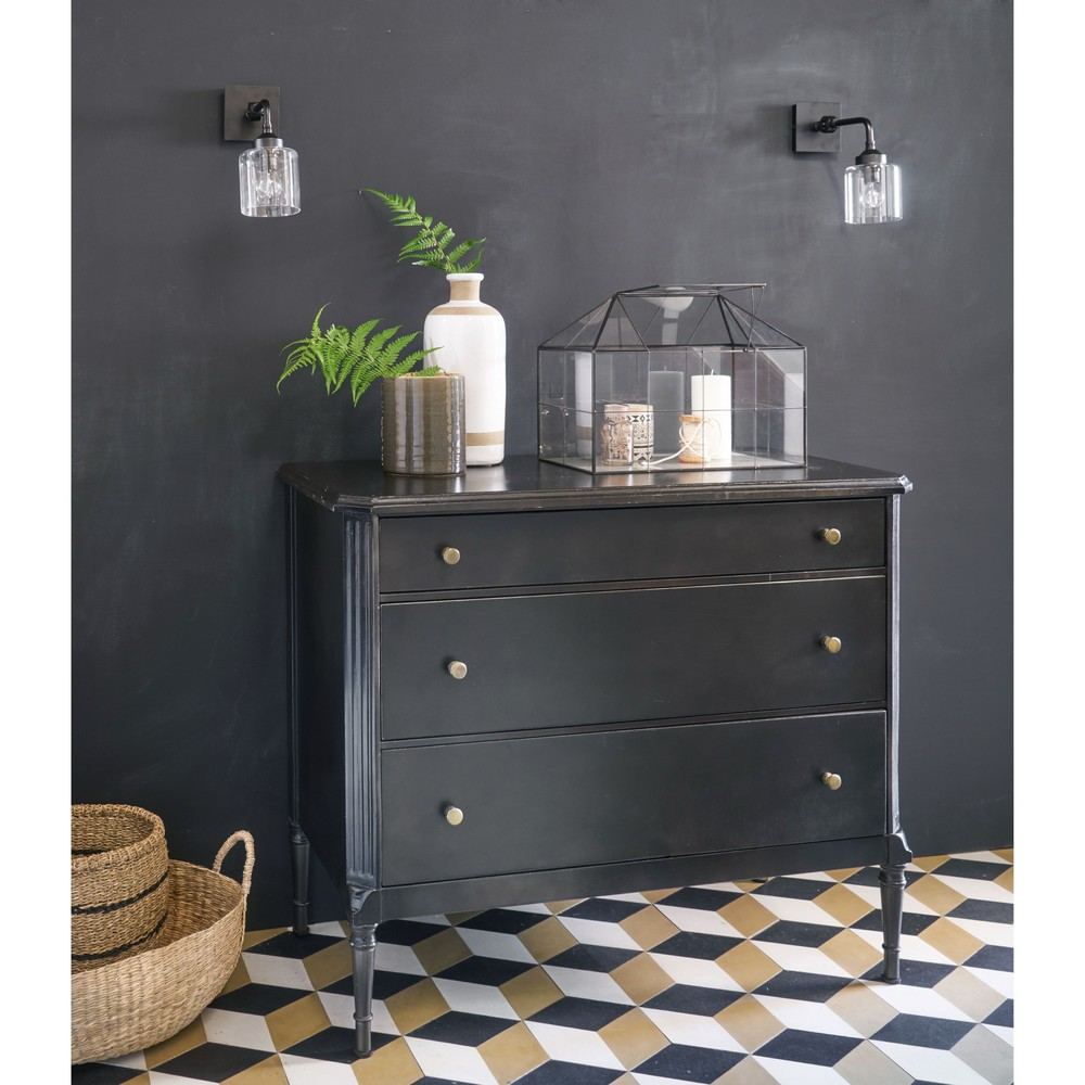 commode 3 tiroirs napol on en m tal noir commode maisons. Black Bedroom Furniture Sets. Home Design Ideas