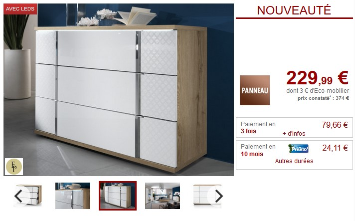 Commode CONSCIENCE 3 tiroirs avec LEDs Chêne et blanc - Vente Unique