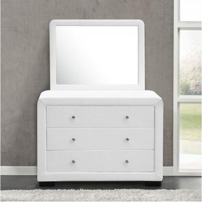 Commode Lucay avec miroir et 3 tiroirs reflet blanc - Concept Usine
