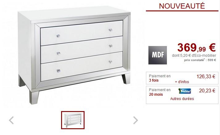 Commode design GLACIA 3 tiroirs MDF et miroir - Vente Unique