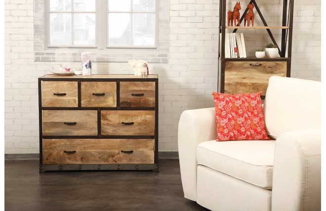 commode miliboo commode industrielle industria bois massif ventes pas. Black Bedroom Furniture Sets. Home Design Ideas