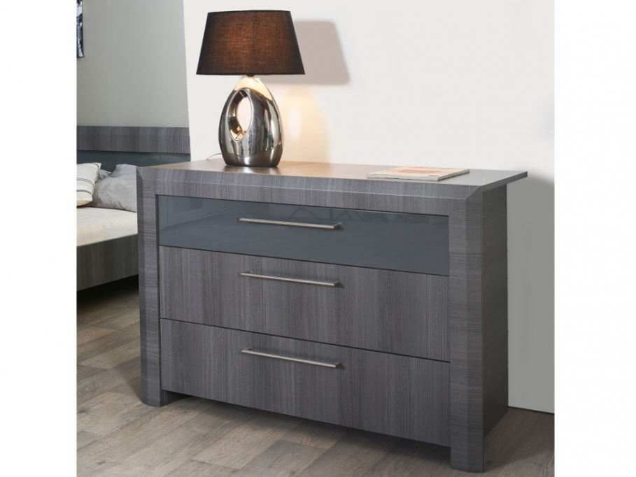 commode britany 3 tiroirs mdf gris commode pas cher. Black Bedroom Furniture Sets. Home Design Ideas