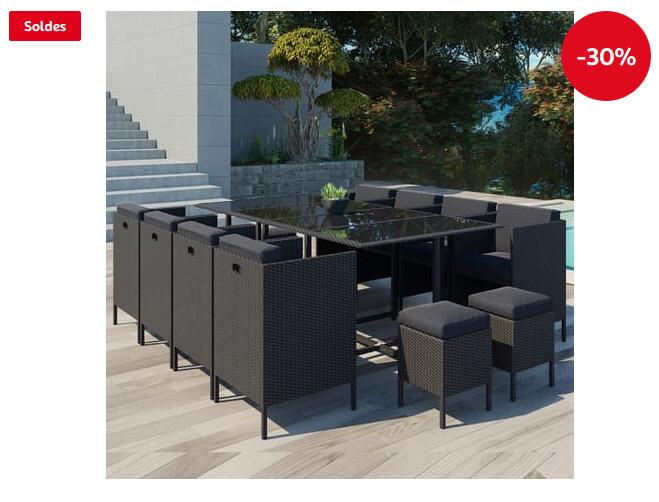 Salon de jardin encastrable Daytona 12 CONCEPT USINE 12 places en résine tressée noir/noir - Auchan