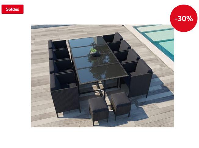 Salon de jardin encastrable Daytona 12 CONCEPT USINE 12 places pas cher -  Soldes Salon de jardin Auchan - Ventes-pas-cher.com