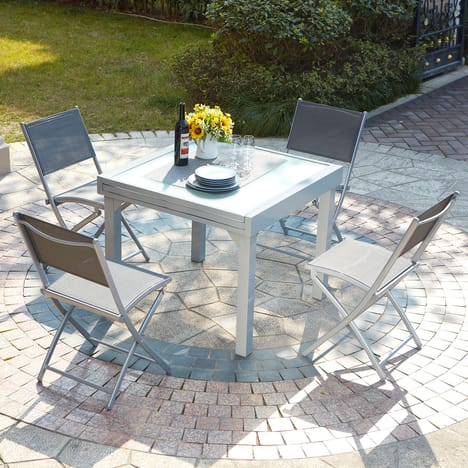 Concept usine molvina 4 table de jardin extensible en Salon de jardin 8 personnes pas cher