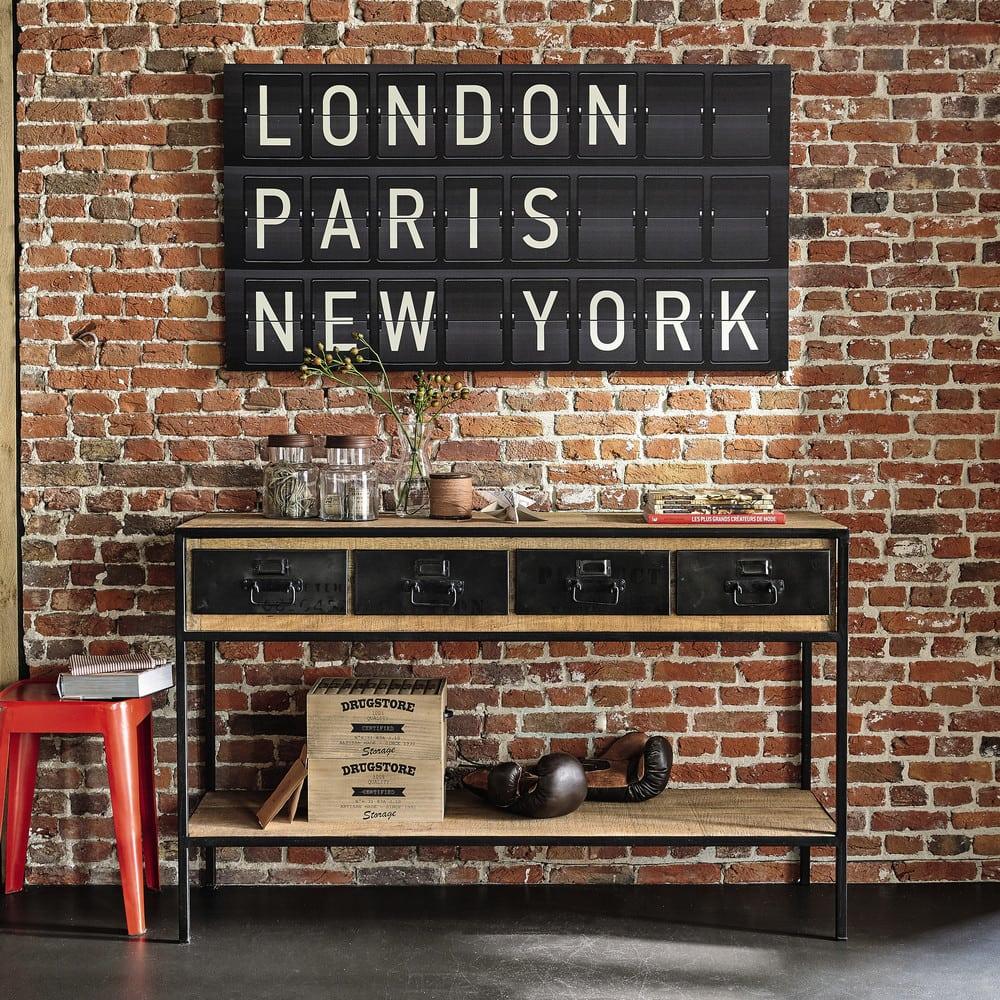Console indus Manufacture en métal noir et manguier massif - Maisons du Monde