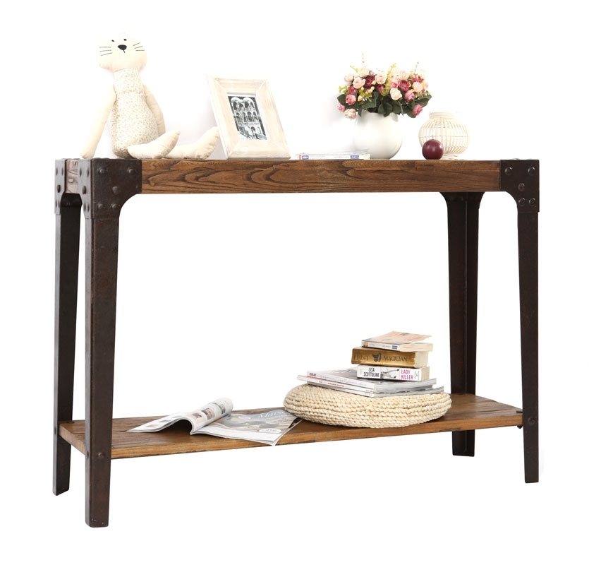Console miliboo console industrielle madison bois et for Console industrielle