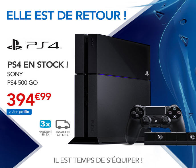 console ps4 pas cher console rue du commerce ventes. Black Bedroom Furniture Sets. Home Design Ideas