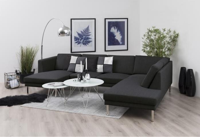 COPENHAGEN Canapé d'angle fixe à droite 5 places Tissu Gris anthracite Contemporain - Cdiscount