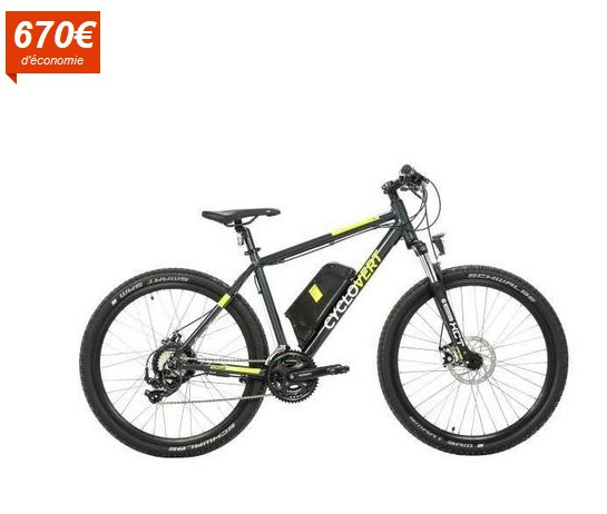 CYCLOVERT Vélo VTT Éléctrique Cyclosport VAE Alu