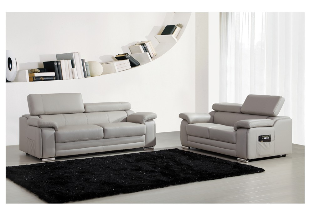Ensemble canap s 2 et 3 places dakota en cuir gris - Canape 3 places et 2 places ...