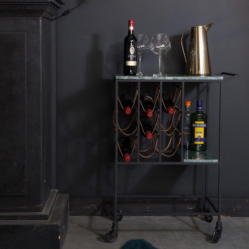 Desserte porte-bouteilles métal cuir et marbre Mil Dutchbone - DEcoclico