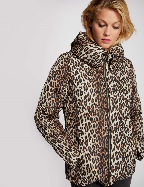 Doudoune à capuche imprimé léopard Morgan