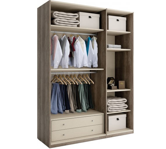 Dressing galla ch ne gris 3 portes personnalisables dressing destock meuble - Meubles dressing pas cher ...