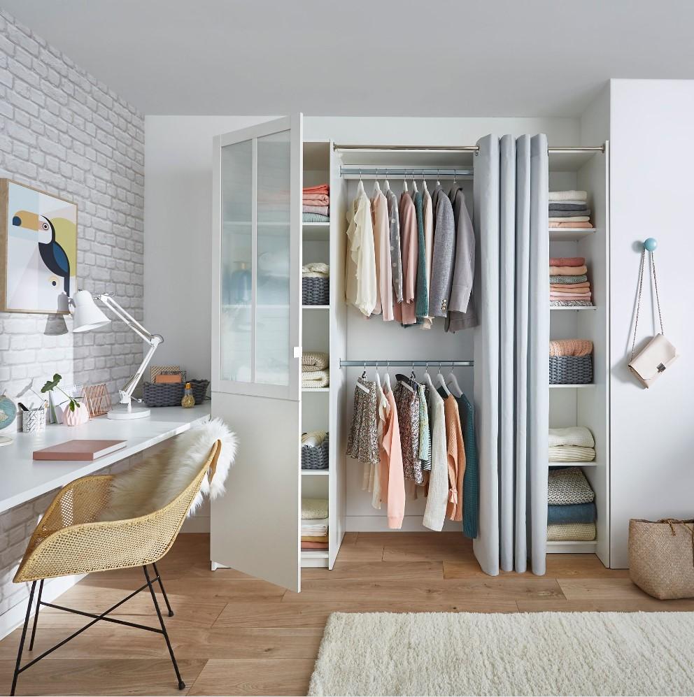 Dressing tout-en-un Atelier avec rideau pas cher - Dressing ...