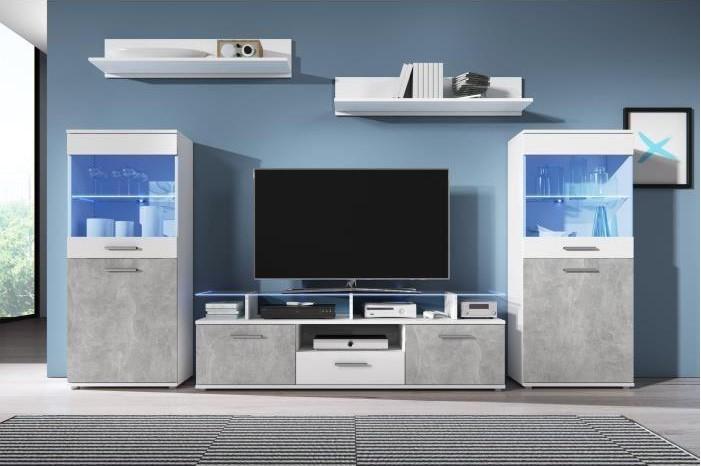 ELIO Meuble TV mural avec LED contemporain blanc brillant et effet béton + plateau en verre