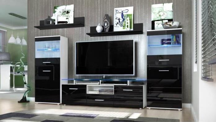 Ensemble 5 meubles tv mural blanc et noir 252cm pas cher meuble tv cdiscount soldes cdiscount - Meuble tv mural cdiscount ...