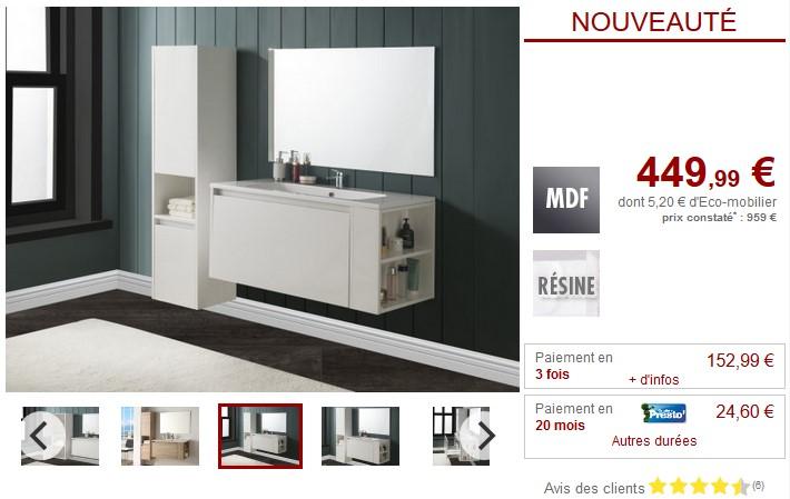 Ensemble BEHATI Meubles de salle de bain blanc laqué ou bois