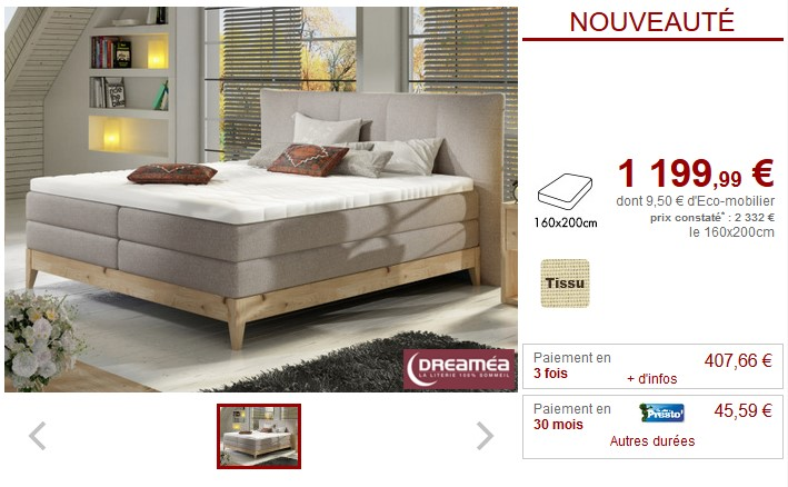 Ensemble Boxspring EVEREST style chalet 160x200 tissu