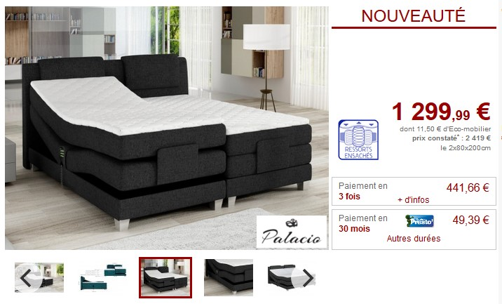 ensemble boxspring relaxation castel de palacio pas cher literie de relaxation vente unique. Black Bedroom Furniture Sets. Home Design Ideas