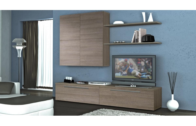 Ensemble mural tv design bois gris ellis meuble tv for Meuble mural tv bois