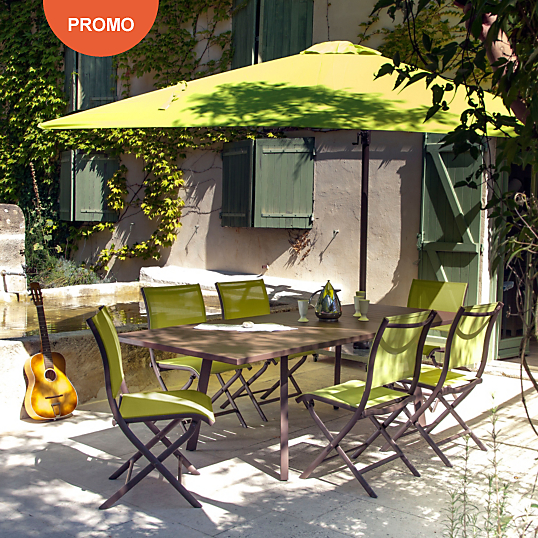 ensemble repas barcelona 6 chaises pliantes parasol table de jardin camif ventes pas. Black Bedroom Furniture Sets. Home Design Ideas