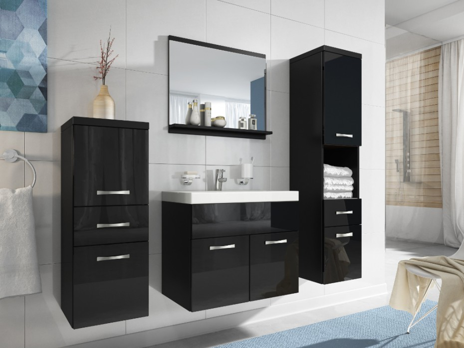 meuble salle de bain noir laqu pas cher meuble vasque. Black Bedroom Furniture Sets. Home Design Ideas