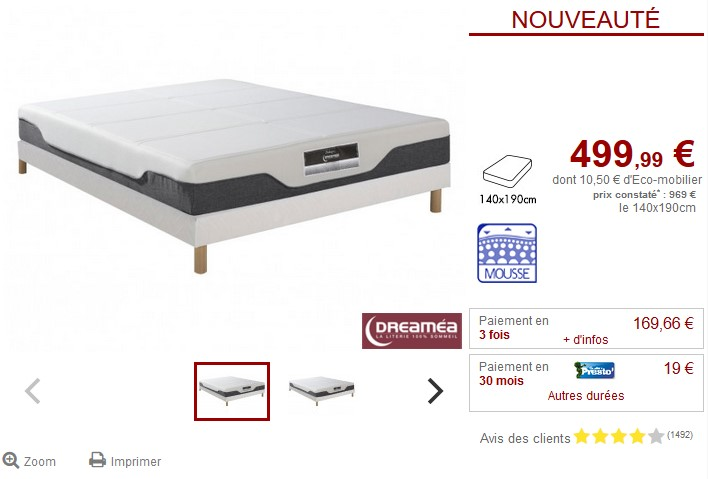 Sommier + matelas mousse mémoire de forme DREAMEA FEELINGS