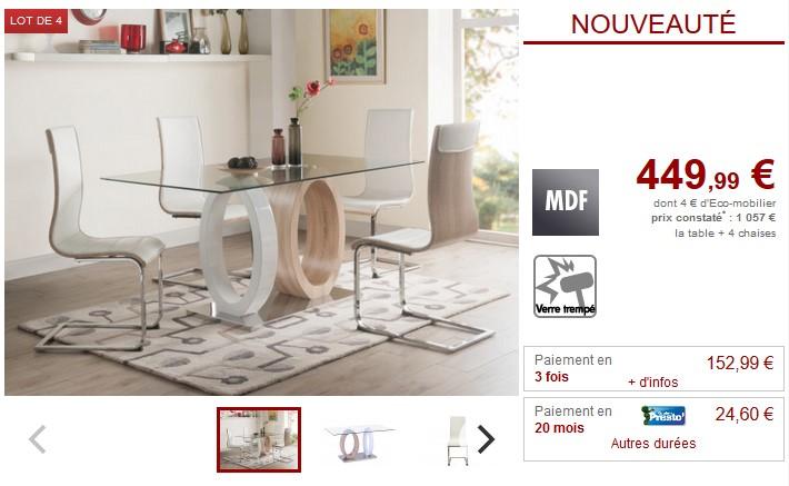Vente unique top promo vente unique meubles et deco pas for Ensemble table 4 chaises pas cher