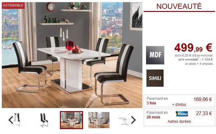 Ensemble table + 4 chaises TRINITY Blanc & Noirc - Vente Unique