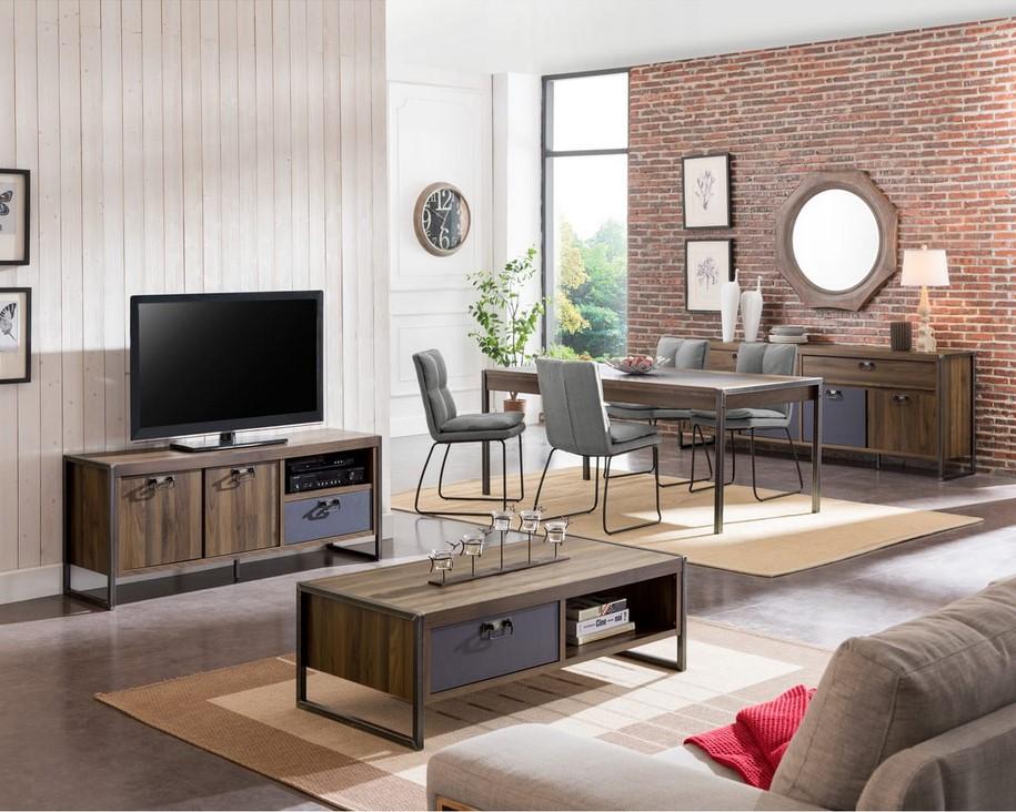 Ensemble Table basse + Meuble tv style industriel FABRIC - Auchan