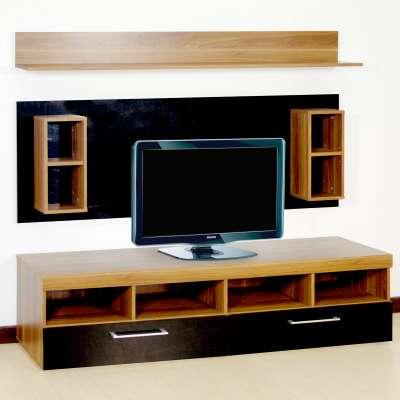 soldes meubles tv la maison de valerie ensemble tv smart h tre et noir brillant ventes pas. Black Bedroom Furniture Sets. Home Design Ideas