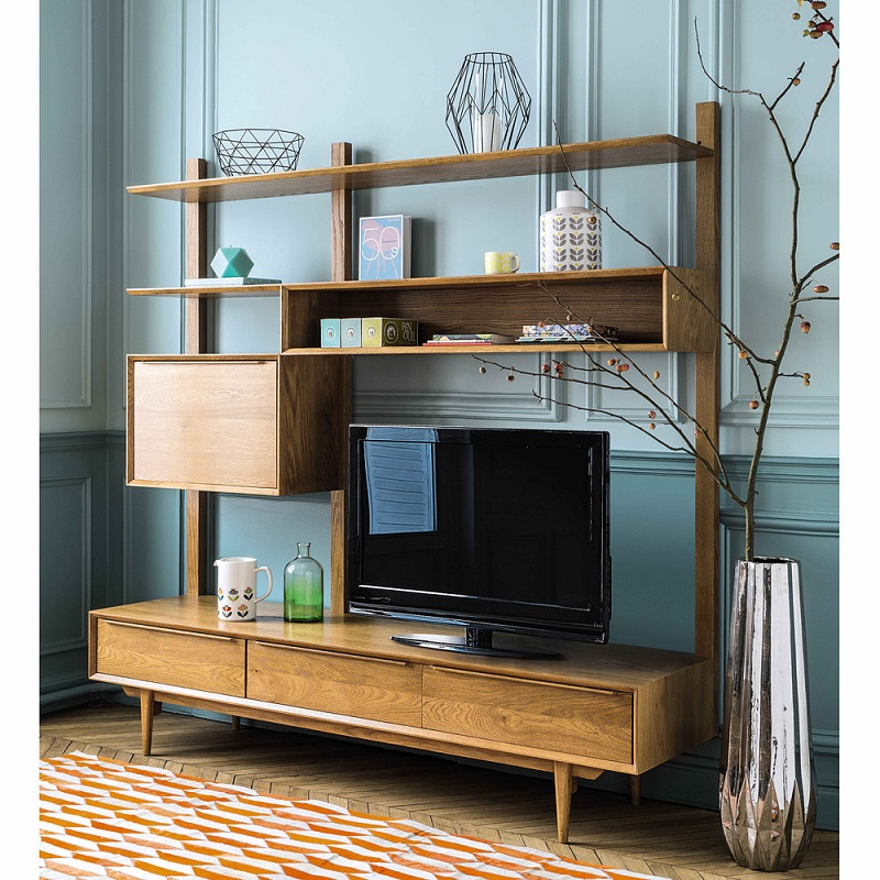 Tag re meuble tv vintage portobello en ch ne massif for Meuble etagere tv