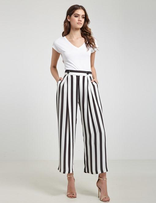 Pantalon large fluide à rayures Morgan