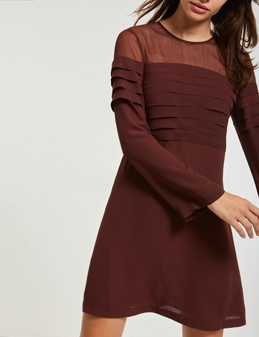 Robe en voile et crêpe effet plissé Morgan