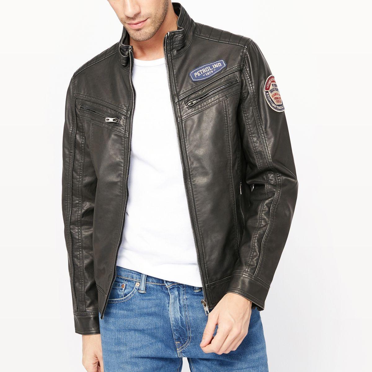 Blouson Style motard aspect cuir noir Petrol Industries - Blouson Homme La Redoute
