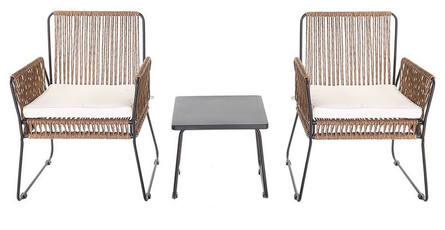 Lot de 2 fauteuils de jardin MACCA en fils de résine