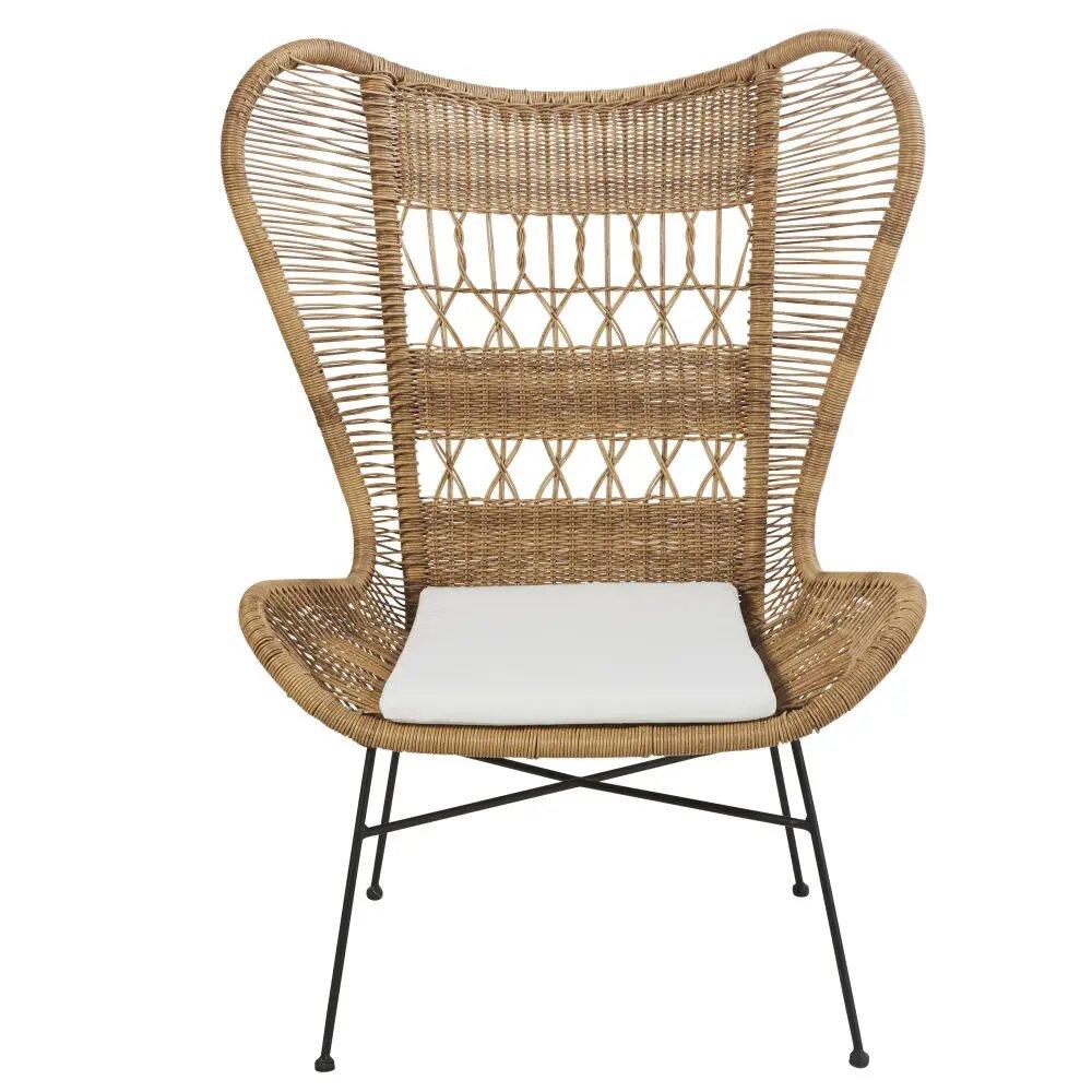 fauteuil de jardin kabane en r sine tress e et toile crue. Black Bedroom Furniture Sets. Home Design Ideas