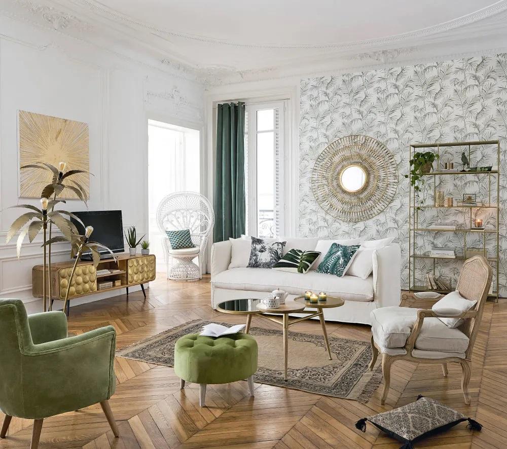 Maison Du Monde Fauteuil Rotin fauteuil château en lin vert clair cannage en rotin - fauteuil maisons du  monde