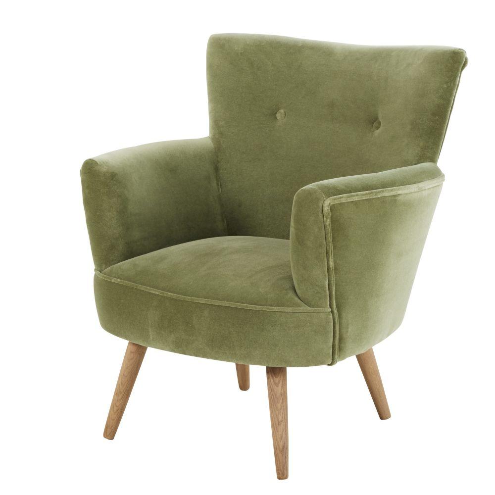 Maison Du Monde Fauteuil Rotin fauteuil en velours sao paulo vert kaki - fauteuil maisons du monde