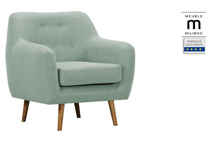 Fauteuil design tissu vert pieds bois clair OLAF - Miliboo
