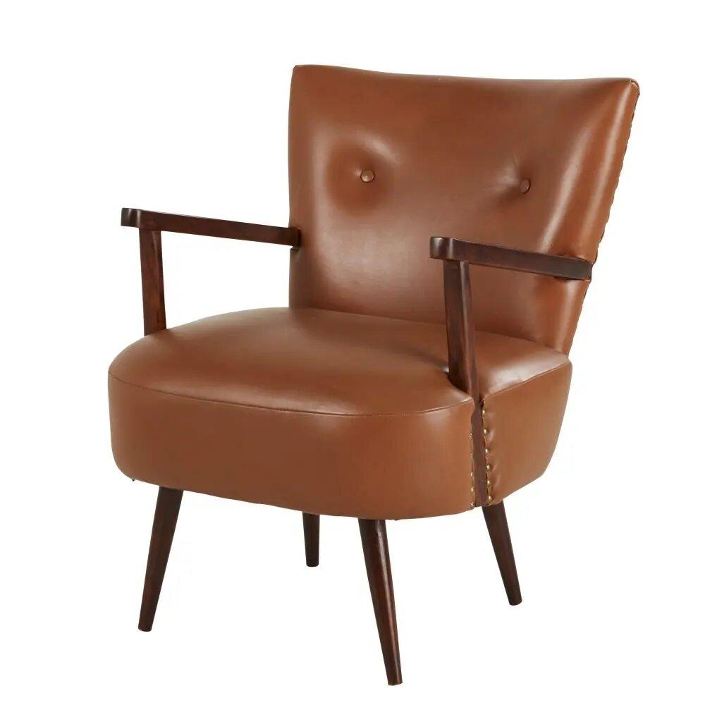 fauteuil vintage streeter en cuir camel fauteuil maisons du monde ventes pas. Black Bedroom Furniture Sets. Home Design Ideas
