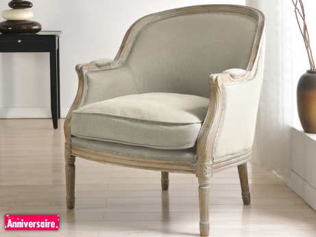 fauteuil en lin alienor beige prix 259 99 euros vente unique ventes pas. Black Bedroom Furniture Sets. Home Design Ideas