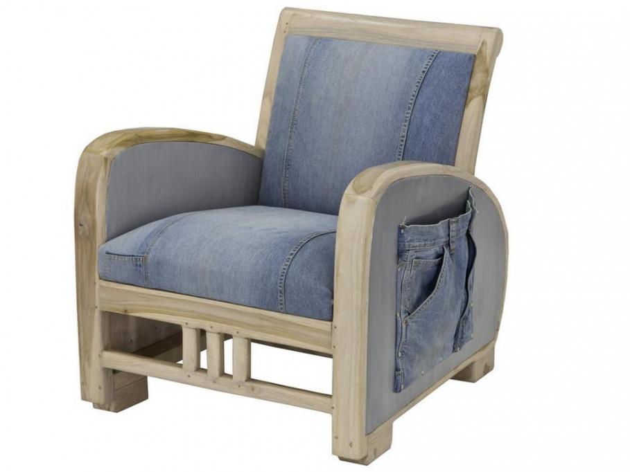 fauteuil vintage en tissu jones bleu jean fauteuil vente unique ventes pas. Black Bedroom Furniture Sets. Home Design Ideas