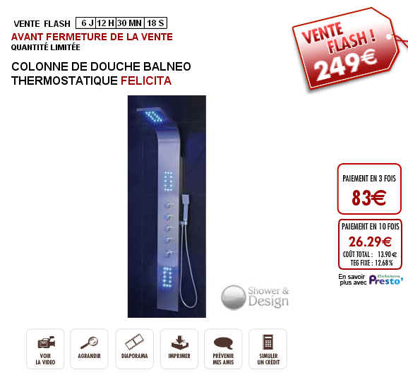 vente flash colonne de douche baln o thermostatique felicita prix 299 euros vente unique. Black Bedroom Furniture Sets. Home Design Ideas